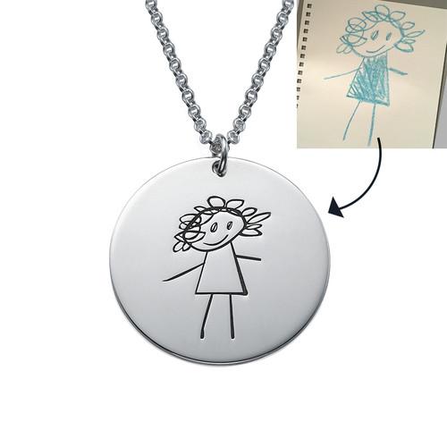 Rund disk til mamma gravert med barnetegning - 1