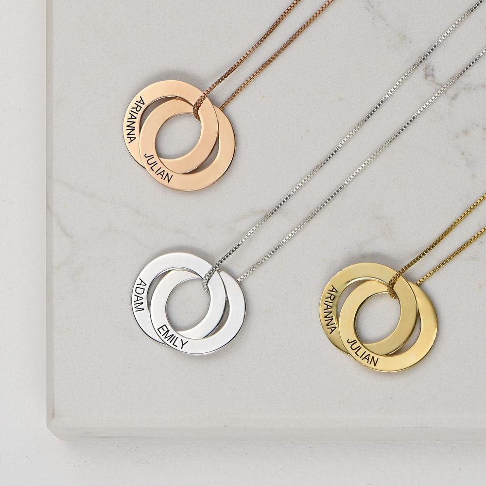 Russisk ring-halskjede med 2 ringer i rosegullbelegg - 1