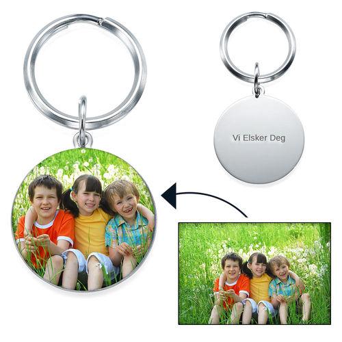 Gravert nøkkelring med bilde (rund)
