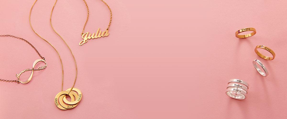 Mitt Navnesmykke størrelsesguide for smykker