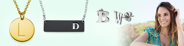 Wearing a Personalised Letter Initial Necklace